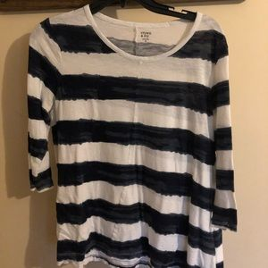 Crown & ivy blue and white striped shirt